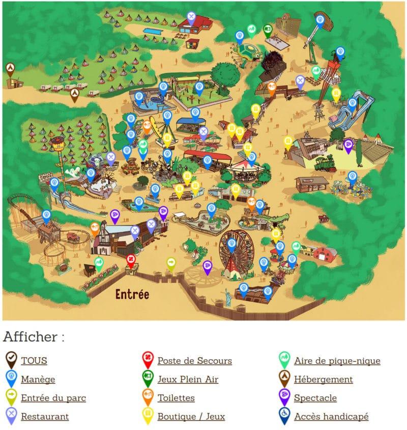 Les meilleurs parcs d'attractions de France, Carte et infos. 89