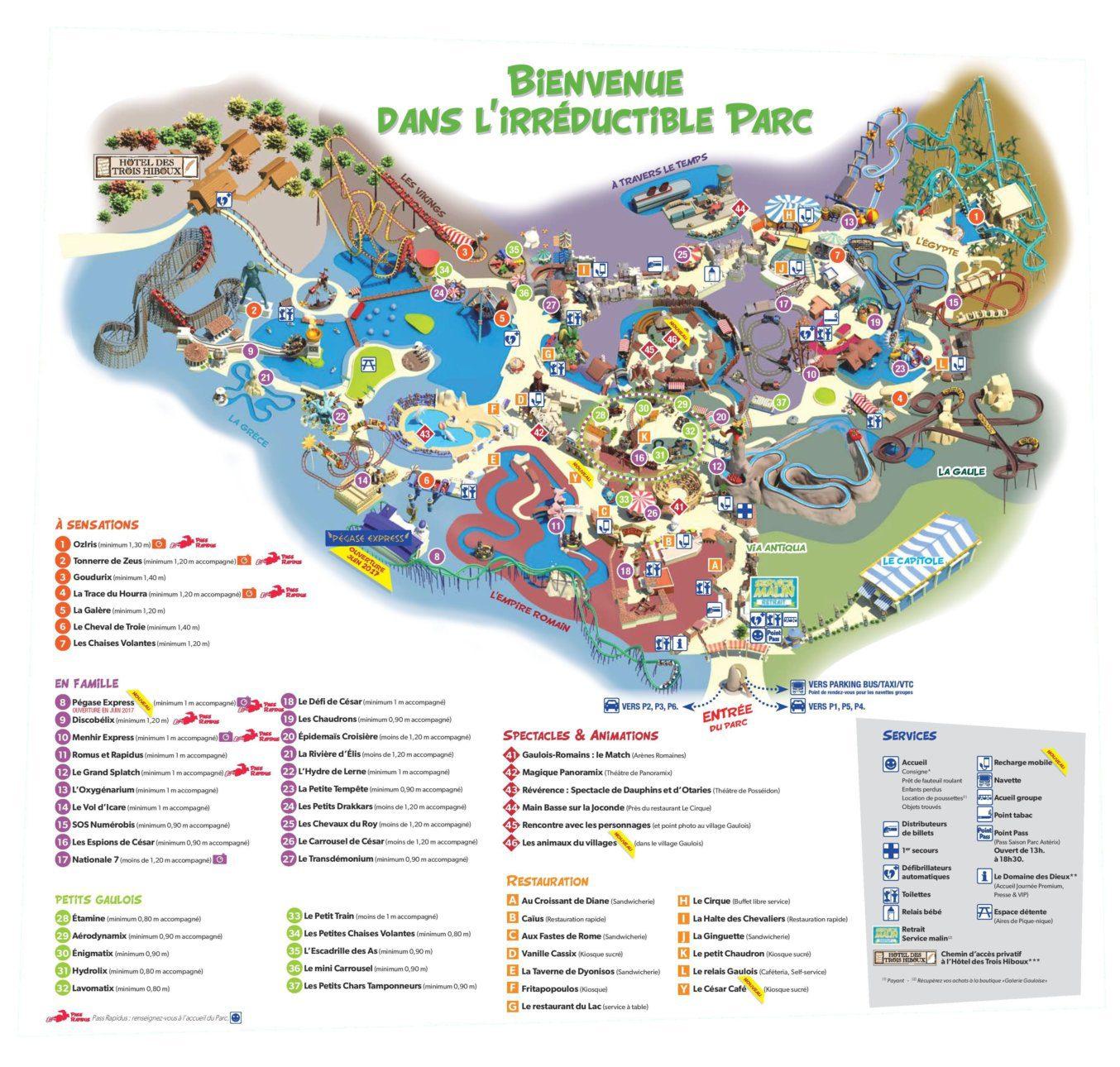 Les meilleurs parcs d'attractions de France, Carte et infos. 9