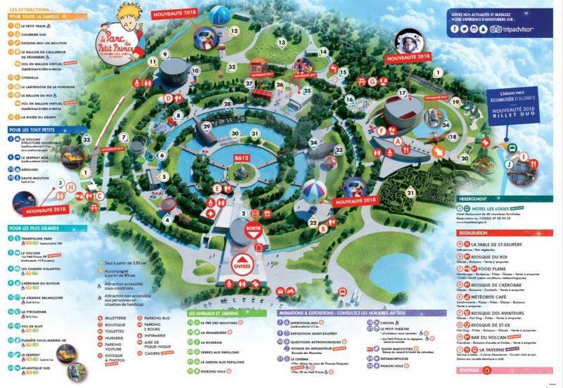 Les meilleurs parcs d'attractions de France, Carte et infos. 65