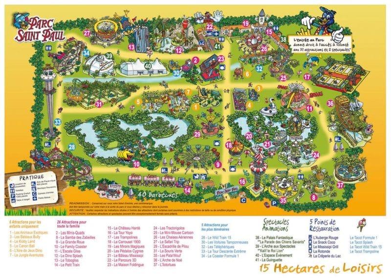 Les meilleurs parcs d'attractions de France, Carte et infos. 69