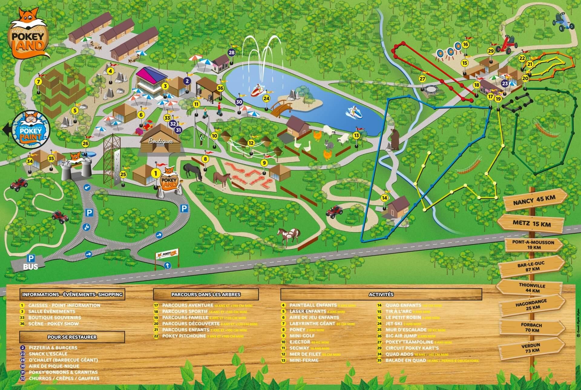 Les meilleurs parcs d'attractions de France, Carte et infos. 113